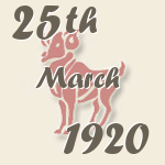 Aries, 25. March 1920.