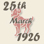 Aries, 25. March 1926.