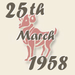 Aries, 25. March 1958.