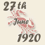 Cancer, 27. June 1920.