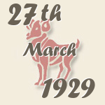 Aries, 27. March 1929.