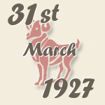 Aries, 31. March 1927.